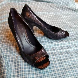BCBGeneration purple metallic peep toe high heels